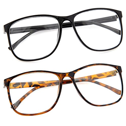 grinderPUNCH Large Nerdy Thin Plastic Frame Clear Lens Eye Glasses Frame 2 - Glasses Tortoise Shell