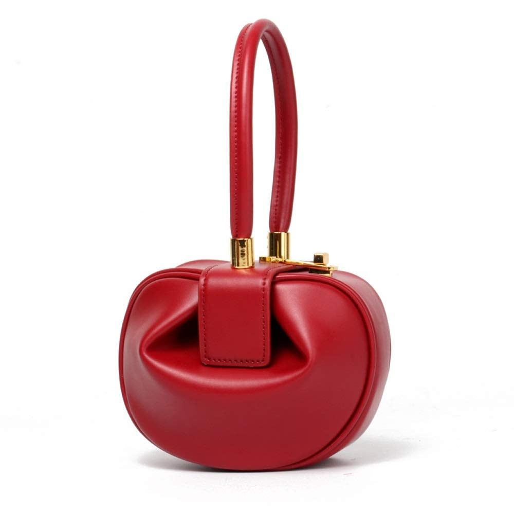 5 Colors Optional //-// DDSS Shoulder Bags Color : Red Faux Leather//Microfiber Fashion Retro Mini Tote Bag Europe and America Portable Dumplings Wonton Womens Evening Package