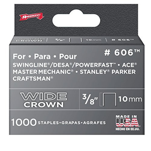 - Arrow Fastener 606 6 Pack 3/8in. Wide Crown Heavy Duty Staple 6,000 Pieces Size: 6-Pack, Model: 606, Tools & Outdoor Store