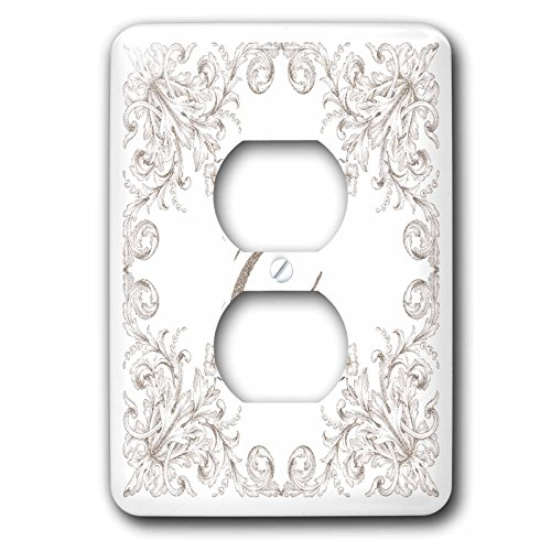 3dRose Uta Naumann Personal Monogram Initials - Letter E Personal Luxury Vintage Glitter Monogram-Personalized Initial - Light Switch Covers - 2 plug outlet cover (lsp_275304_6) by 3dRose