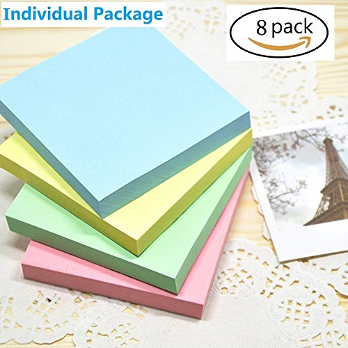Sticky Notes, Memo Self-Stick 8 Pads/Pack, Post it Notes 100 Sheets/Pad, 3 inch X 3 inch, Squares 4 Colors Child Fresh Easy Post