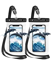 """Waterproof Phone Case, IPX8 Waterproof Phone Pouch Dry Bag Compatible with iPhone 12/12 Pro Max/11/11 Pro/SE/XS Max/XR/XS/8+/7, Galaxy S20/S10/S9/S8+ up to 7"""" for Beach Kayaking Bathroom Shower-2 Pack"""