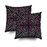 ROOLAYS Decorative Throw Square Pillow Case Cover 20X20Inch,Cotton Cushion Covers Oriental floral ornament Template carp Both Sides Printing Invisible Zipper Home Sofa Decor Sets 2 PCS Pillowcase