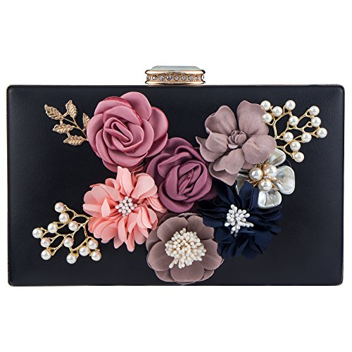 Bag Beaded Pearl Evening Purses for Women's Flower Handbag Shoulder Clutches Black Bridal Wedding Bagood Bags xwYTUqxv