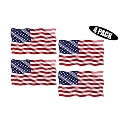 Rogue River Tactical American USA Flag Sticker Patriotic Waving United States Auto Car Decal Window Bumper US Military (3x5 Inch 4 Pack): Automotive
