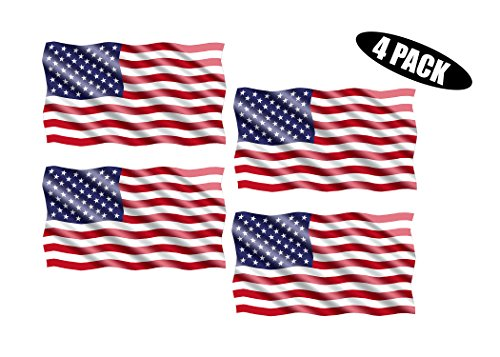 (Rogue River Tactical American USA Flag Sticker Patriotic Waving United States Auto Car Decal Window Bumper US Military (3x5 Inch 4 Pack) )