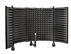 Monoprice Microphone Isolation Shield - Black - Foldable With 38 Inch Mic Threaded Mount, High Density Absorbing Foam Front & Vented Metal Back Plate