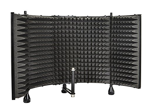 Recording Studio Stands - Monoprice Microphone Isolation Shield - Black - Foldable with 3/8 inch Mic Threaded Mount, High Density Absorbing Foam Front And Vented Metal Back Plate