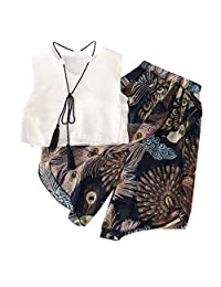 Jugendhj Babysuit ��������Toddler Kids Baby Girl Outfits Clothes Chiffon Tassel Shirt Vest+Print Pants Set