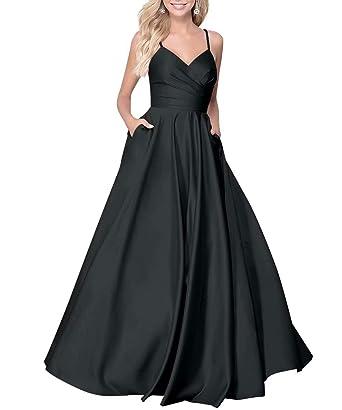 5e8e0d60f97 KAOSHAN Long Prom Dress Satin V Neck 2019 Beaded Spaghetti Straps A-line  Evening Gown