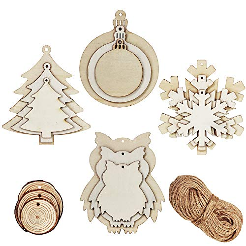 42 Pcs 3 Size Christmas Wood Slices Blank Wooden Bauble Tree Owl Snowflake Cutouts and Natural Wood Circles Slice Ornaments with Holes and 30 Yards Twine String for Holiday Season Hanging Sign Decor