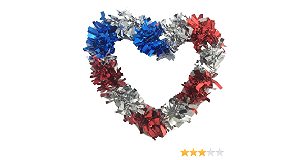 Patriotic Wreath Decoration White and Blue Faux Berries with White Stars 20 Inches x 18 Inches TII Americana Heart Shaped Wreath in Red