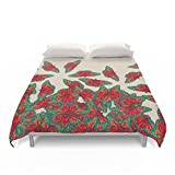 Society6 Ruby & Emerald Butterfly Dance - Red, Teal & Green Butterflies On Cream Duvet Covers Full: 79'' x 79''