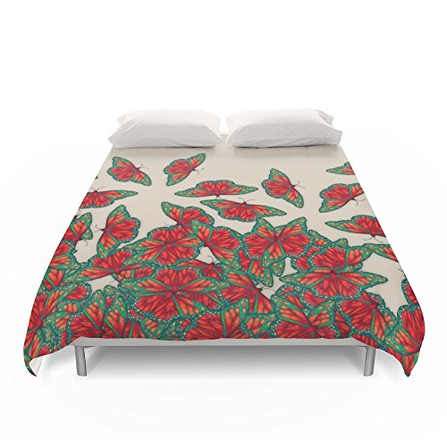 Society6 Ruby & Emerald Butterfly Dance - Red, Teal & Green Butterflies On Cream Duvet Covers Full: 79'' x 79'' by Society6