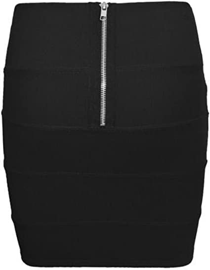 NEW WOMENS LADIES BANDAGE RIBBED PARTY STRETCH WORK PANEL PENCIL ZIP MINI SKIRT
