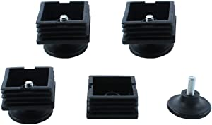 uxcell Table Adjustable Leveling Foot Square Tube Insert 50mm x 50mm 4 Sets Black
