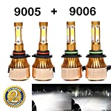 9005 9006 Headlight Bbulbs Combo LED 40000LM High Low Beam White 6000K Super Bright 360 Degree COB Chips - 2 Year Warranty