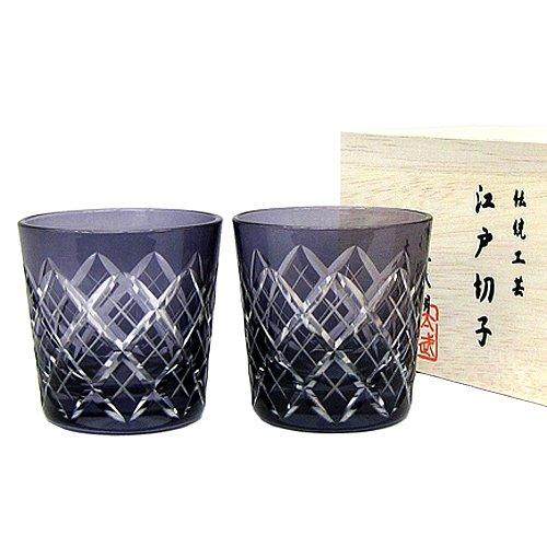 江戸切子 矢来紋 冷酒杯ペア(江戸紫)