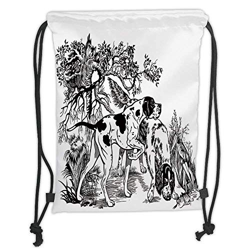 Custom Printed Drawstring Backpacks Bags,Hunting Decor,Hunting Dogs in Forest Monochrome Drawing English Pointer and Setter Breeds,Black White Soft Satin,5 Liter Capacity,Adjustable String Closur ()
