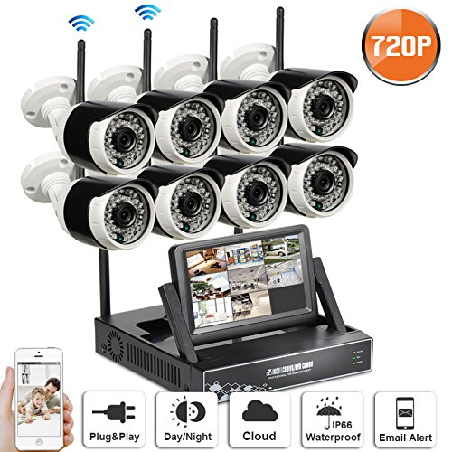 SW SWINWAY Wifi Camera Smart Wireless Security Cameras 8 HD Indoor/Outdoor WiFi IP Bullet Cameras with 8 Channels 7'' Monitor Night Vision Easy Remote Access Hard Disk Not Included