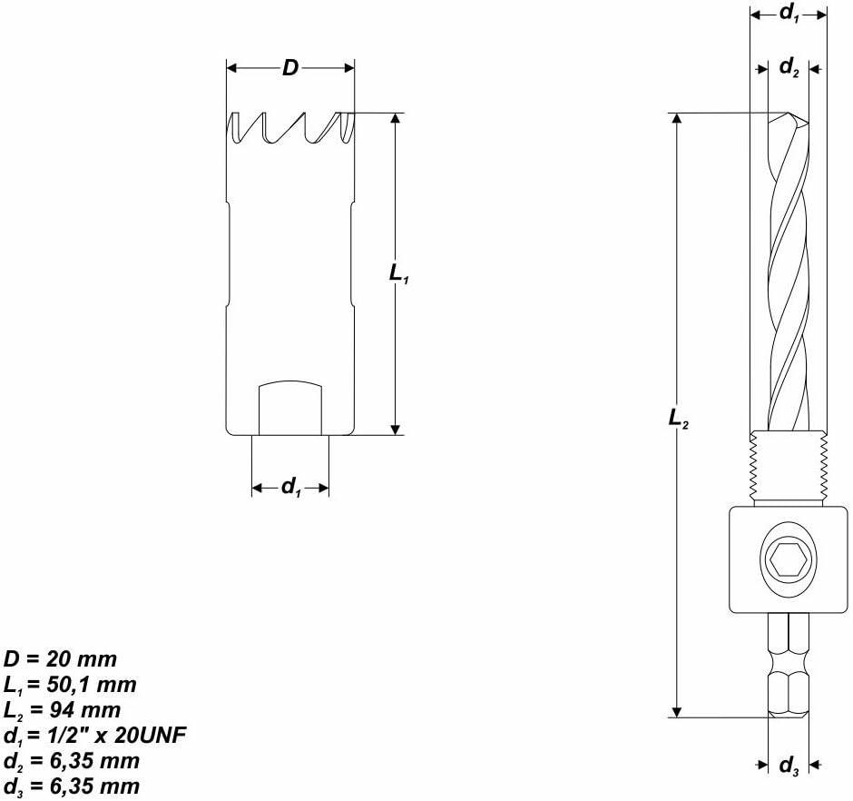 Ø 35 mm HSS BiM Lochsäge Bohrkrone mit Zentrierbohrer Blech Gipskarton Holz OSB