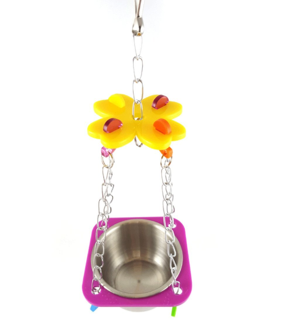 Pet Bird Parrot Parakeet Budgie Cockatiel Cage Hammock Swing Toy Hanging Toy With Removable Food Water Bowl By Cydnlive(Color random ) (L)