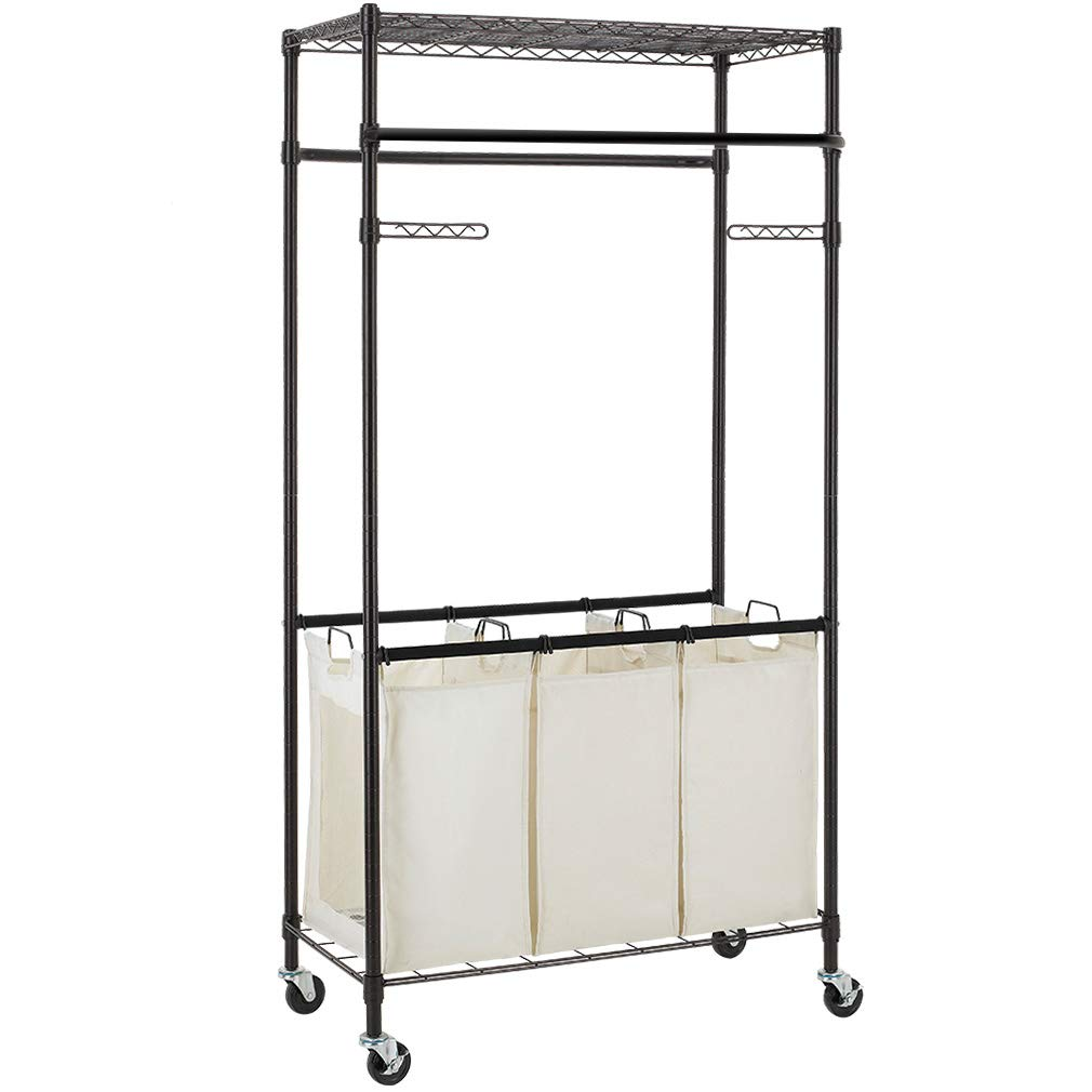 3 Compartment Laundry Sorter Hamper Heavy Duty Clothes Rack Hanging Rolling Laundry Cart with Wheels Rod Garment Rack Double Metal Height Adjustable Shelves Commercial Grade for Laundry room,Bronze by BestMassage