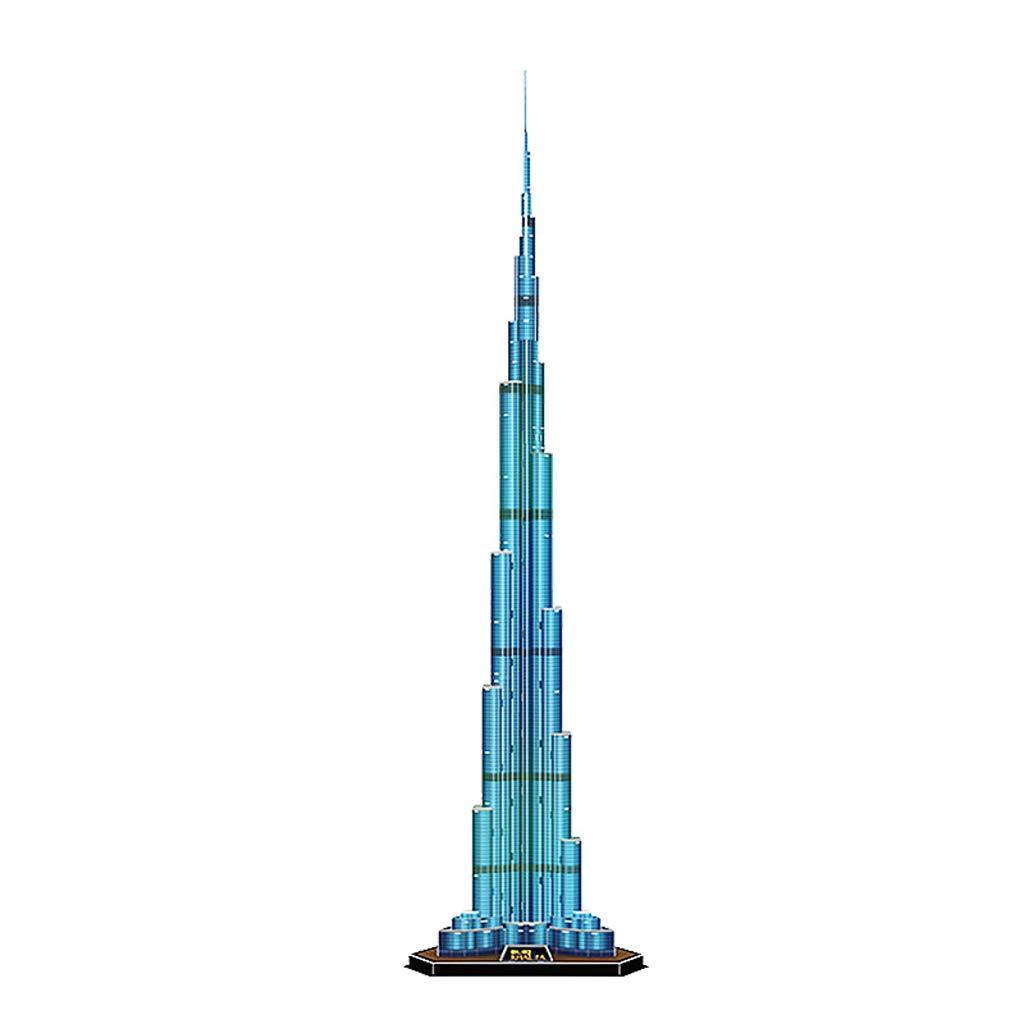 Simulazione 3D Carta Tridimensionale Stampo Fatto a Mano Jigsaw Burj Burj Burj Khalifa Dubai Modello assemblato Fai da Te Giocattoli Burj Khalifa Modello Torre 3D Creativo Puzzle 67a967