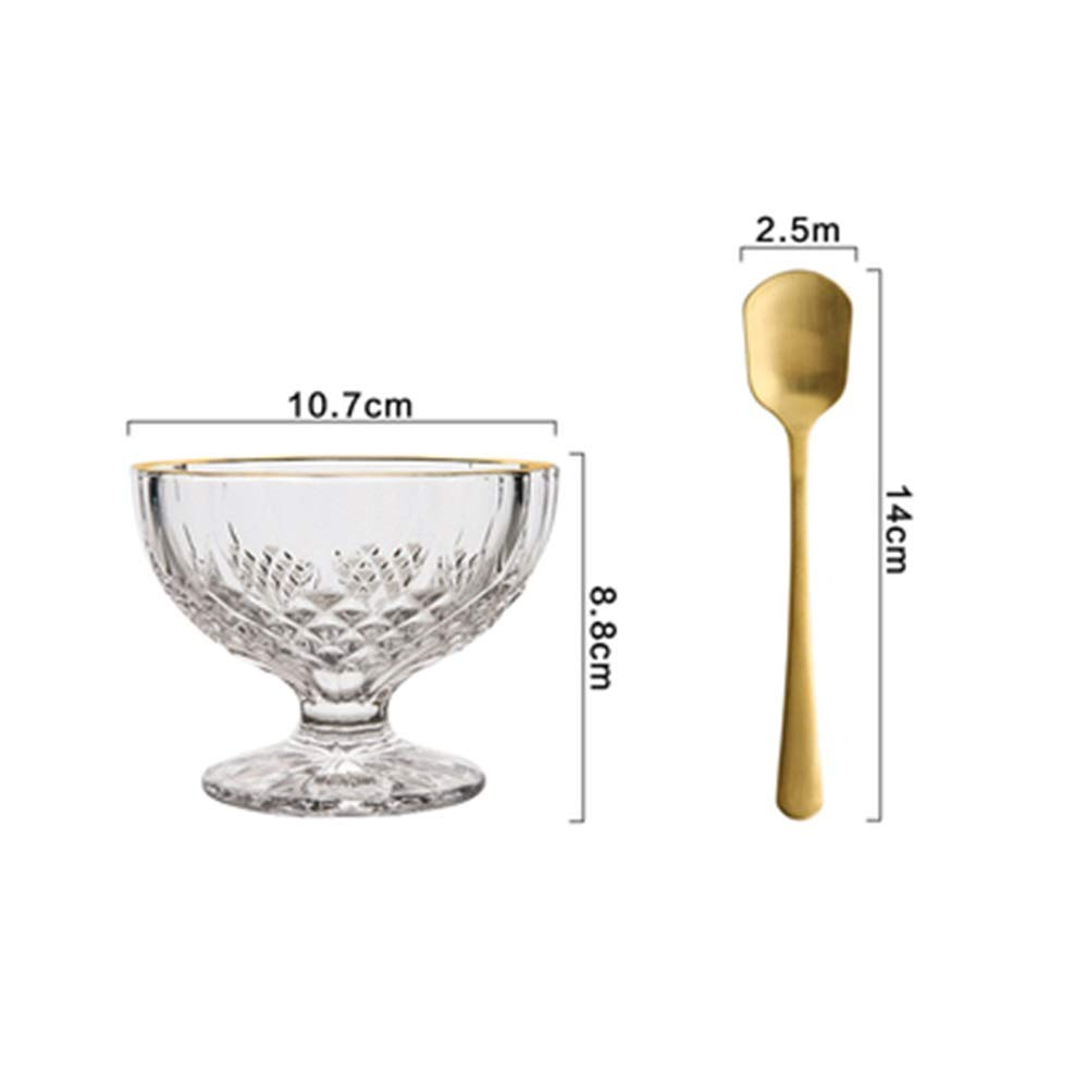 ZXG-FLATWARE 1 Piece / 2 Pieces Of Creative Phnom Penh Flower Glass Ice Cream Cup Dessert Cup Smoothie Cup Milkshake Cup Ice Cream Cup (Color : A, Size : 2 pieces)