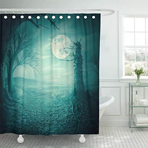 Emvency Fabric Shower Curtain Curtains with Hooks Blue Field Mystical Autumn Forest with Dead Trees and Roots at Moody Full Moon Night Halloween Scary Teal 66