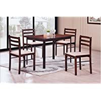 Hodedah 5 Piece Wood Dining Set, Table and 4 Chairs, Cappuccino