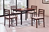 Eat in Kitchen Table Hodedah 5 Piece Wood Dining Set, Table and 4 Chairs, Cappuccino