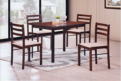 Hodedah 5 Piece Wood Dining Set, Table and 4 Chairs, Cappuccino (Sale Breakfast For Set Table)