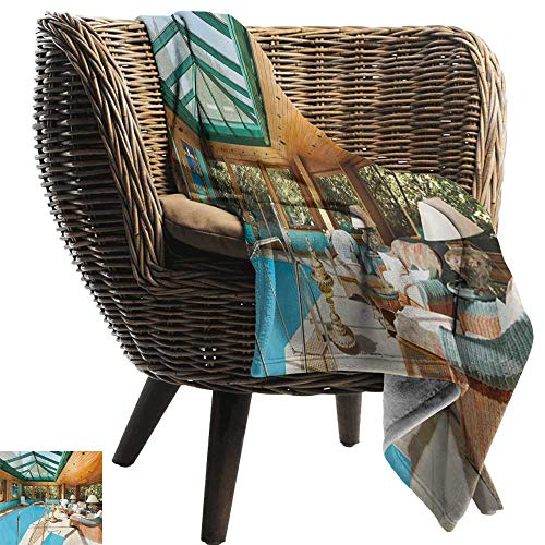 Picnic Blanket,Modern,Residential House Large Indoor Pool Furniture Sunrays Leisure Time Print,Green Pale Brown Blue,Colorful | Home, Couch, Outdoor, Travel Use 60
