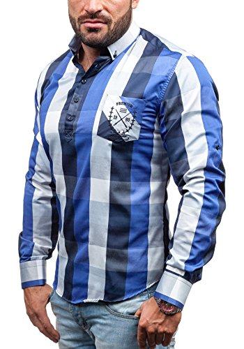 JIM POWEEL Hombres Camisa con original cuello y mangas largas Camisa del ocio Slim Fit 5765 Azul de cobalto