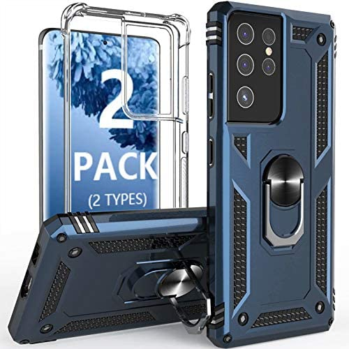 [2 Pack] Profer Compatible with Samsung Galaxy S21 Ultra 5G 6.8inch Case Clear with Stand Kickstand Ring Slim Heavy Duty Defender Military Grade Silicone Cover for Galaxy S21 Ultra Phone Case Blue