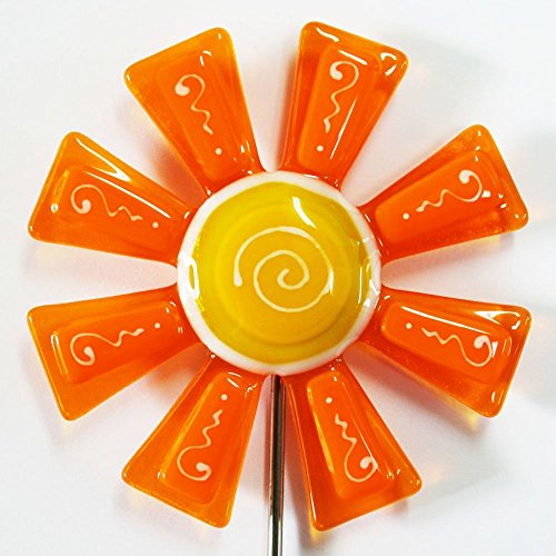 Glassworks Northwest - Tangerine and Marigold Flower Stake - Fused Glass Garden Art