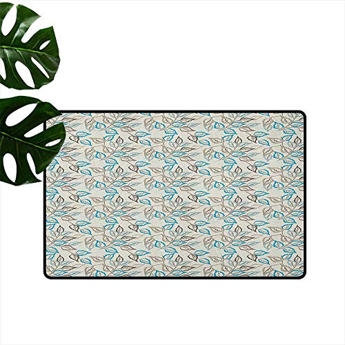 Leaves Door mat Customization Botanic Foliage Leaves Pattern Garden Theme Nostalgic Autumn Motifs Hard and wear Resistant W35 x L47 Warm Taupe Pale Blue Cocoa