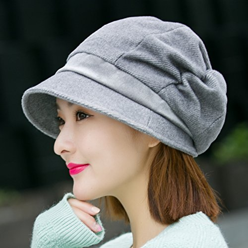 Syksdy Madam Autumn and Winter Are Warm Knitted Hat Beret Wool Hat Gray