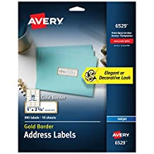 "Avery Address Labels with Gold Border for Inkjet Printers, 1"" x 2-5/8"", 300 Labels (6529)"