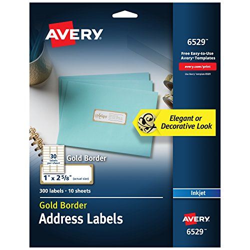 Avery Address Labels with Gold Border for Inkjet Printers, 1