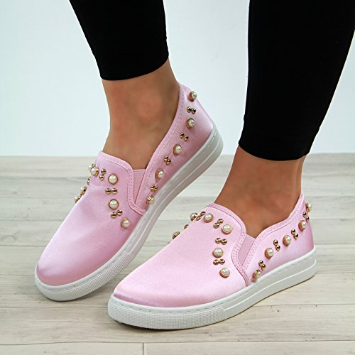 Pumps Larena Comfy Trainers Sneakers New Fashion Casual Pearl Rosa Scarpe Womens Flat q7gSqz