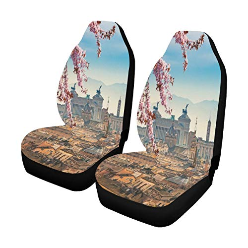 - INTERESTPRINT Beautiful European Castel Sant'Angelo Car Front Seat Covers Set Vehicle Seat Protector for Auto Sedan SUV