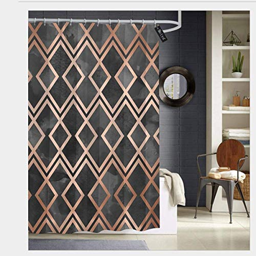 SZZWY Copper Black Diamonds Shower Curtain 3D Printing Waterproof Coated Polyester Fabric Bathroom with 12 Hooks 71 inches