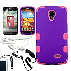 [ARENA] PURPLE PINK HYBRID RIBCAGE COVER FITTED SNAP ON HARD CASE for LG LS740 VOLT F90 + FREE ARENA ACCESSORY KIT