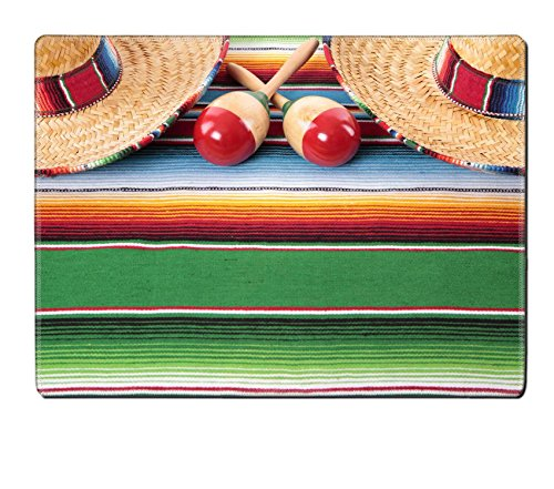 MSD Natural Rubber Placemat IMAGE ID: 37521757 Mexican sombreros and maracas on a traditional serape blanket Space for (Pet Mexican Serape And Sombrero)