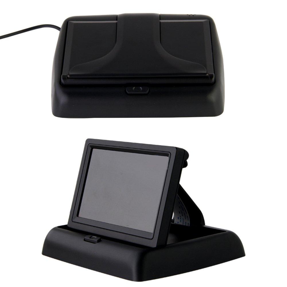 Pathson 4,3 Pouces TFT LCD Moniteur Pliant+Cam/éra de Recul Imperm/éable avec 120/° Large Angle 8 IR Lampes Vision Nocturne sans Fils