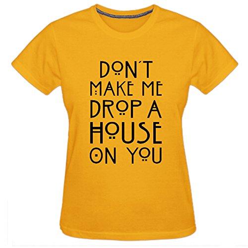 Chimpanzee Women's Don't Make Me Drop a House On You T-shirt (Yellow - Mal Vancouver