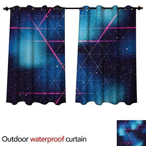 WilliamsDecor Navy and Blush Outdoor Curtain for Patio Eighties Inspired Retrofuturistic Triangles Virtual Reality Sci Fi W72 x L63(183cm x 160cm)