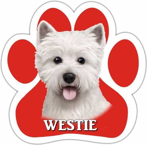 [Westie Car Magnet With Unique Paw Shaped Design Measures 5.2 by 5.2 Inches Covered In UV Gloss For Weather Protection] (Westies In Costumes)